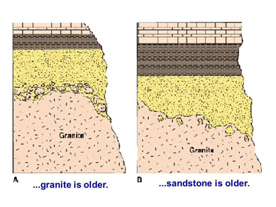 ...granite is older. ...sandstone is older.