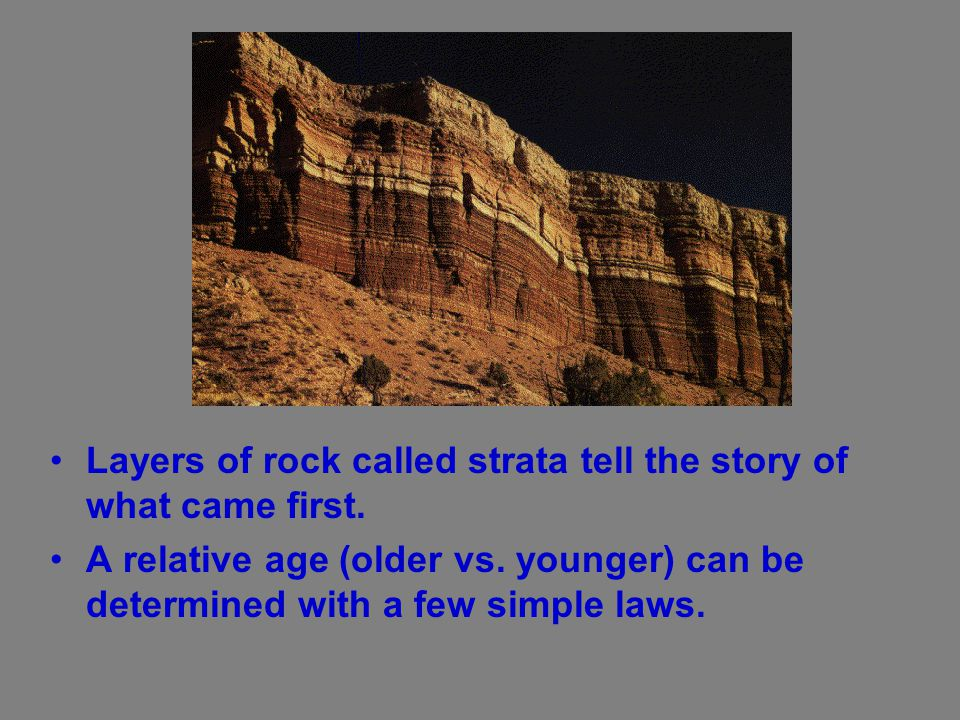 Layers of rock called strata tell the story of what came first.