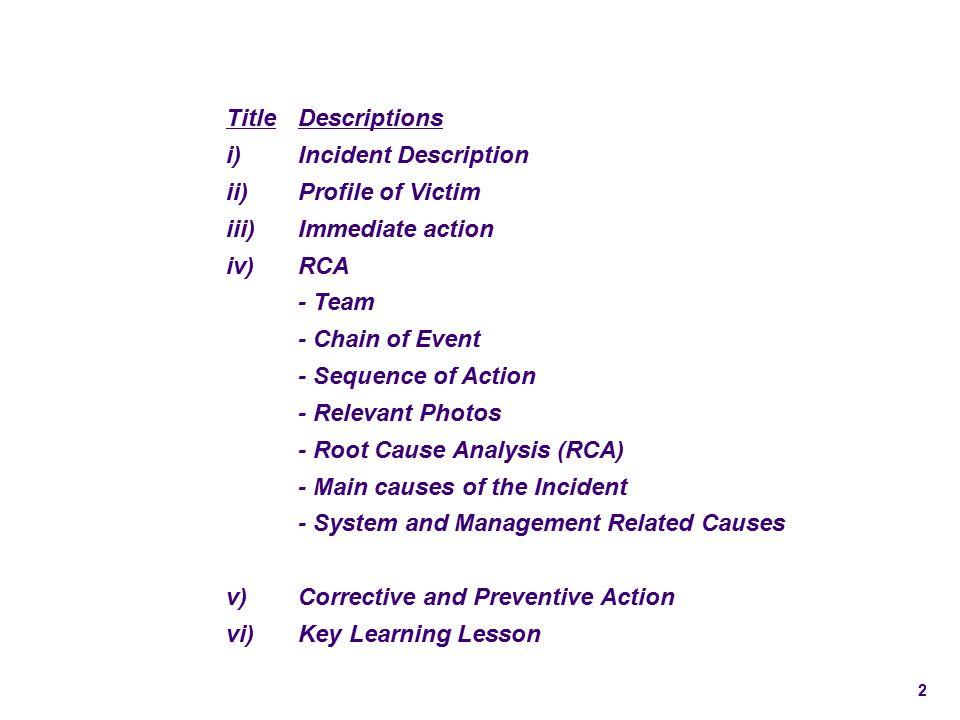 Title Descriptions. i) Incident Description. ii) Profile of Victim. iii) Immediate action. iv)