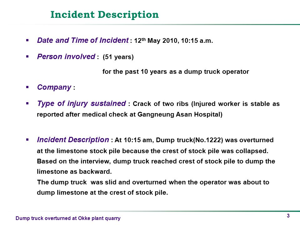 Incident Description Date and Time of Incident : 12th May 2010, 10:15 a.m. Person involved : (51 years)