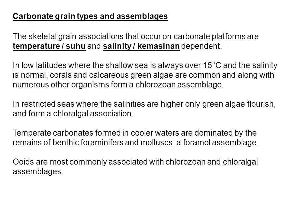 Carbonate grain types and assemblages