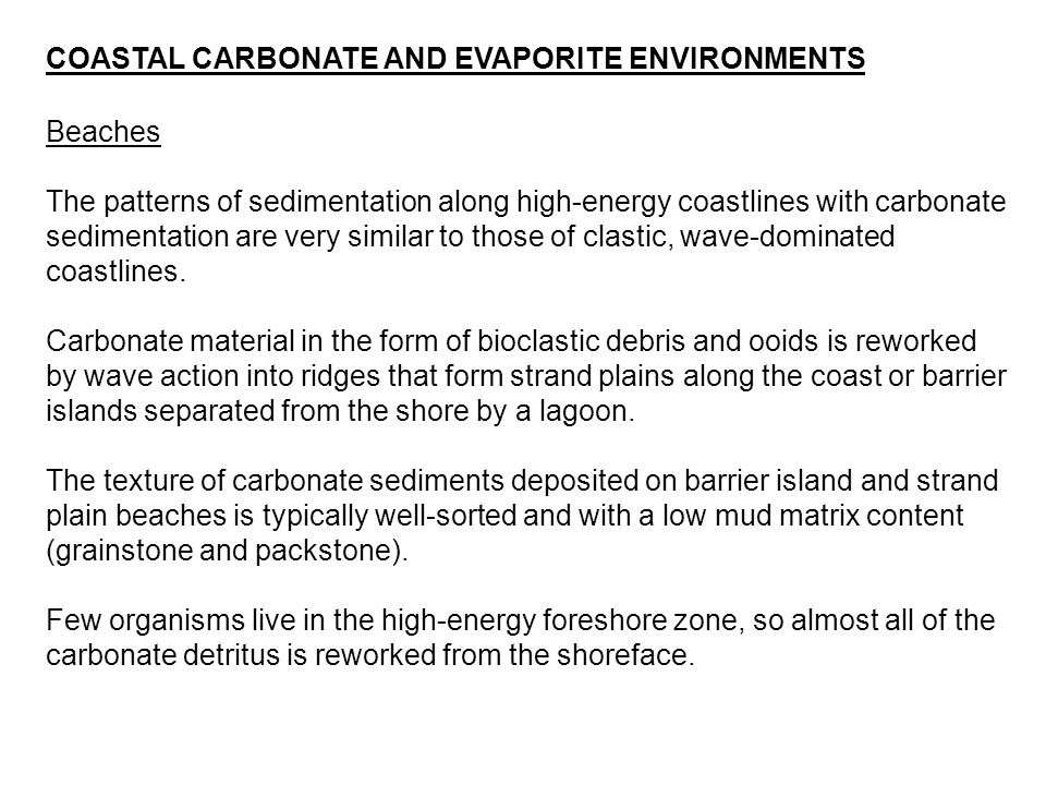 COASTAL CARBONATE AND EVAPORITE ENVIRONMENTS