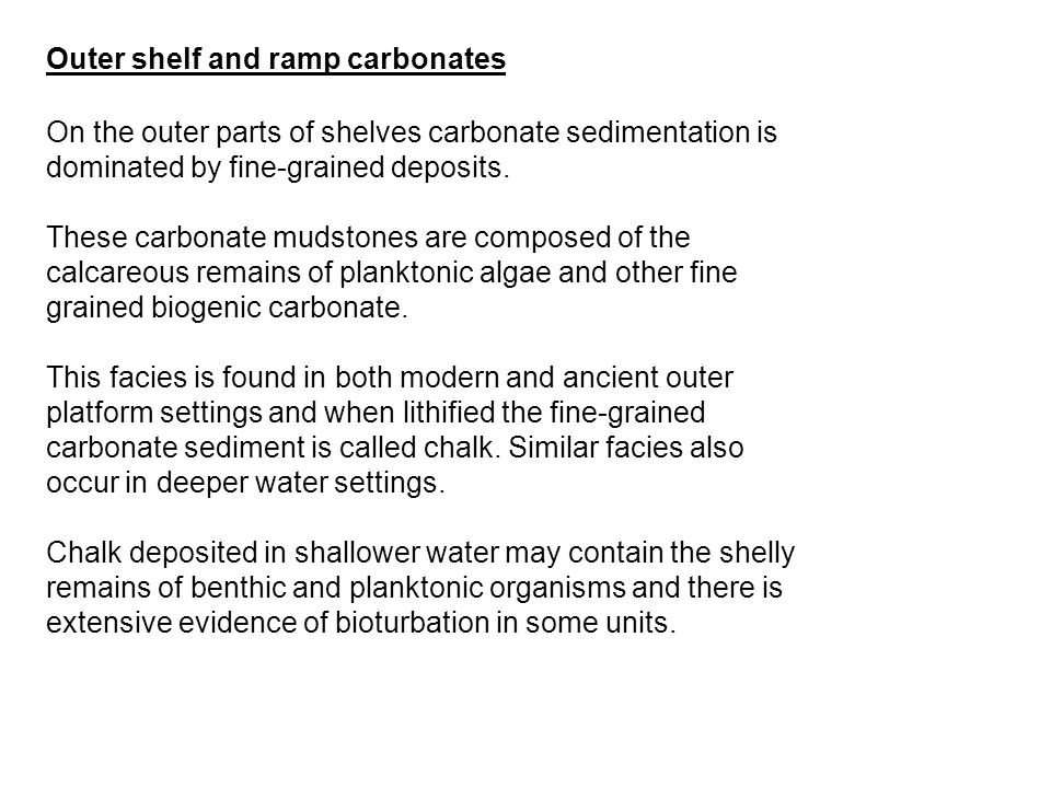 Outer shelf and ramp carbonates