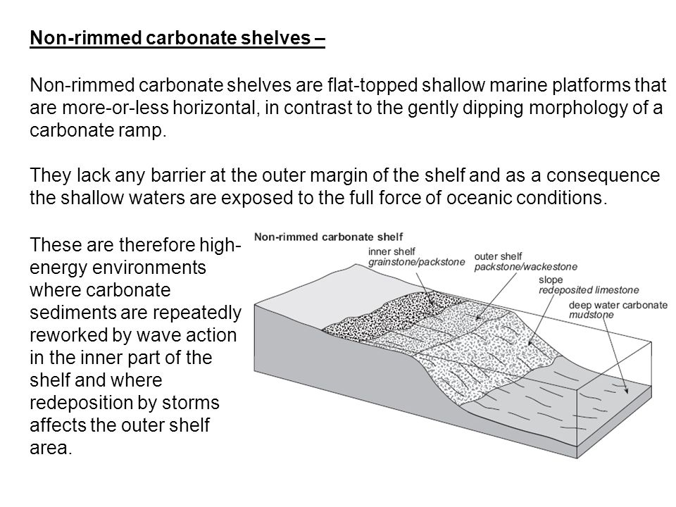 Non-rimmed carbonate shelves –