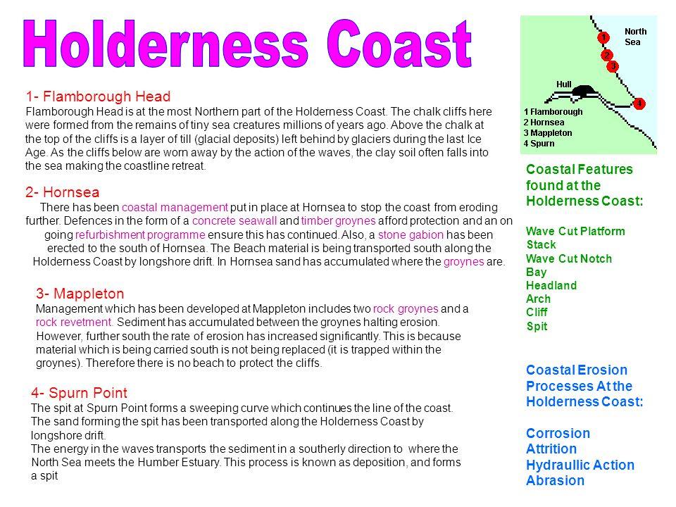 Holderness Coast 1- Flamborough Head 2- Hornsea 3- Mappleton