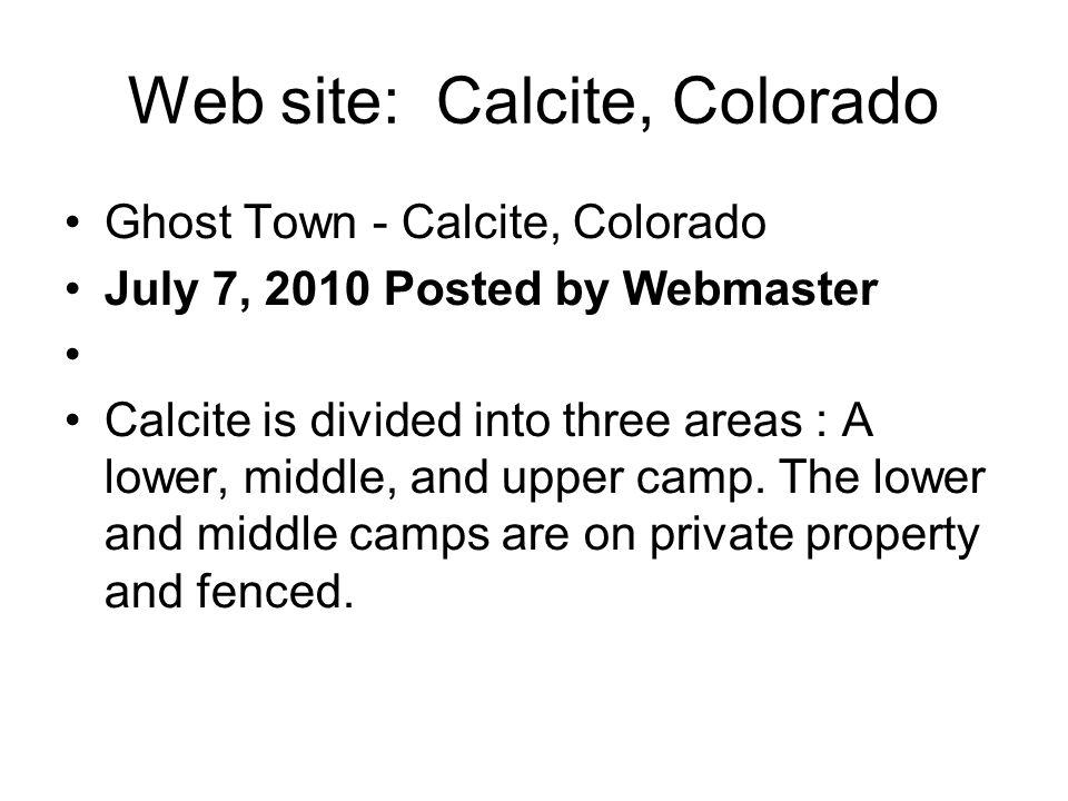 Web site: Calcite, Colorado