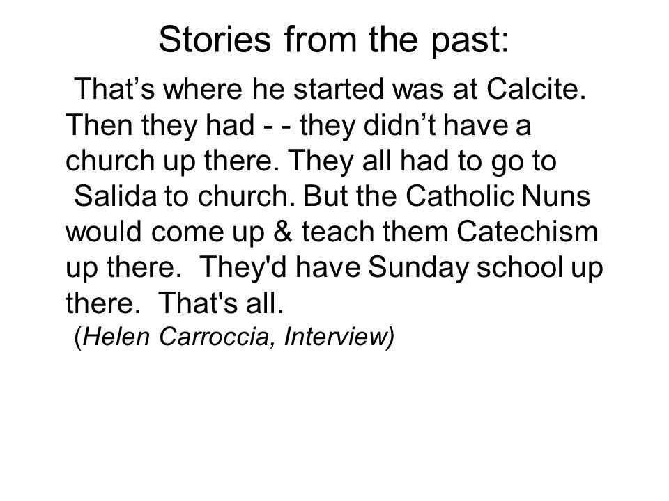 Stories from the past: