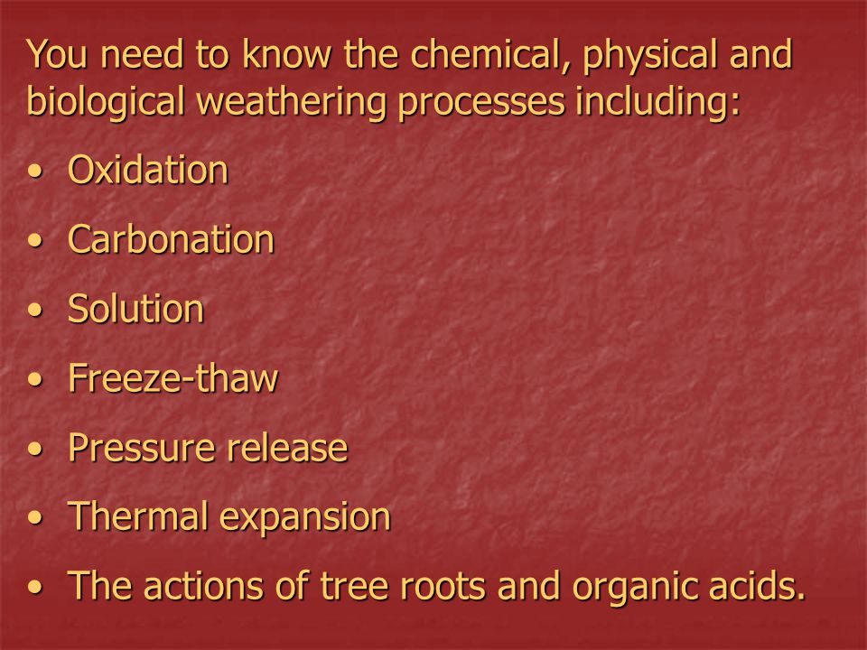 You need to know the chemical, physical and biological weathering processes including: