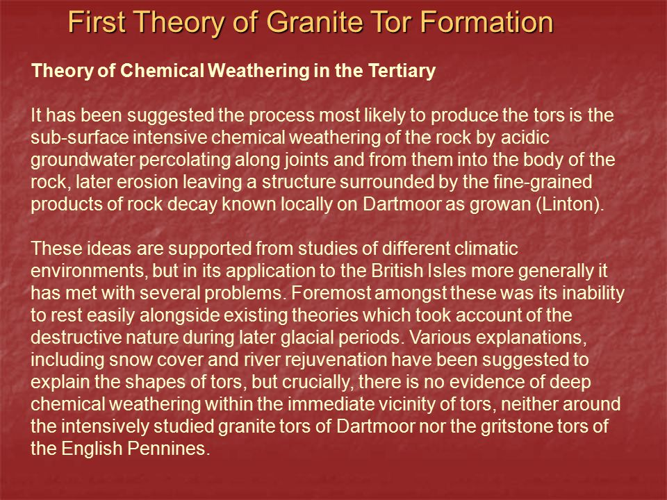 First Theory of Granite Tor Formation