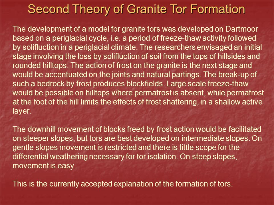 Second Theory of Granite Tor Formation