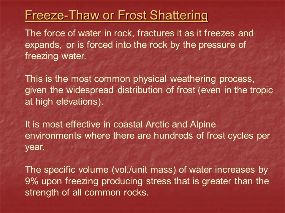 Freeze-Thaw or Frost Shattering