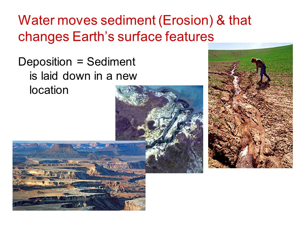Water moves sediment (Erosion) & that changes Earth's surface features