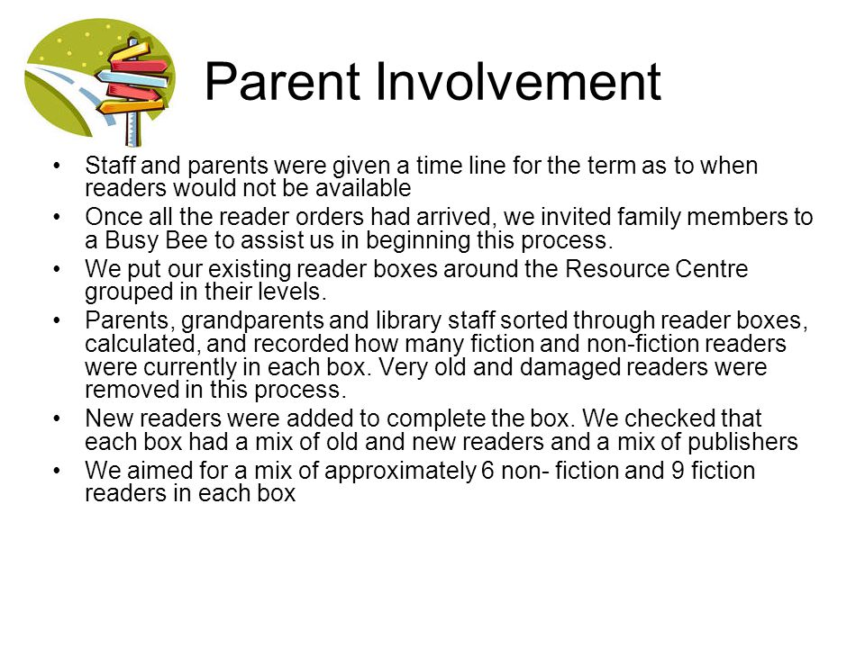 Parent Involvement Staff and parents were given a time line for the term as to when readers would not be available.