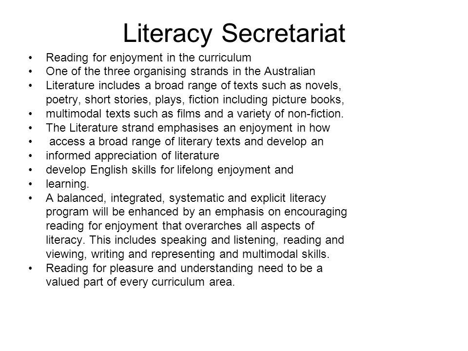 Literacy Secretariat Reading for enjoyment in the curriculum