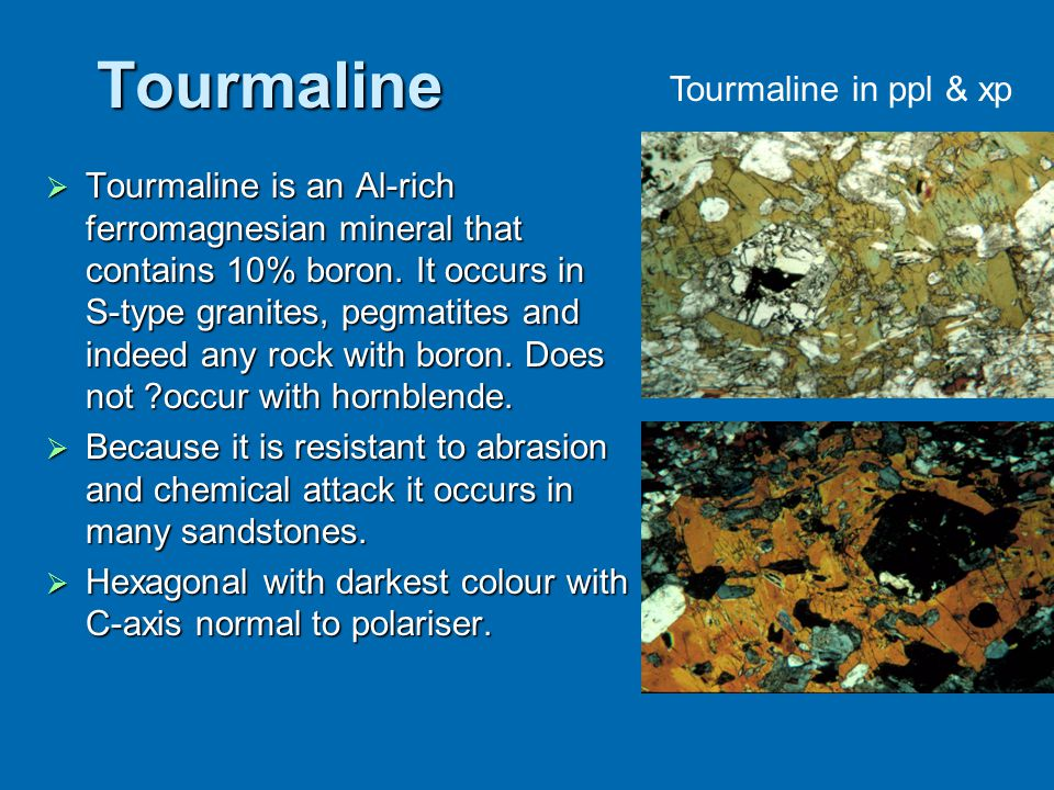 Tourmaline Tourmaline in ppl & xp
