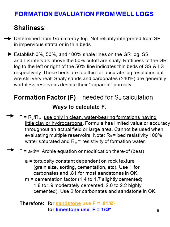 FORMATION EVALUATION FROM WELL LOGS