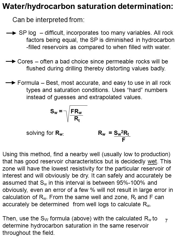 Water/hydrocarbon saturation determination: