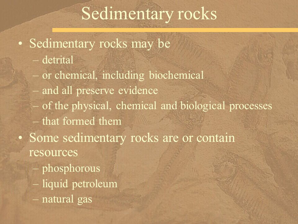 Sedimentary rocks Sedimentary rocks may be