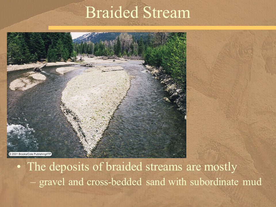Braided Stream The deposits of braided streams are mostly