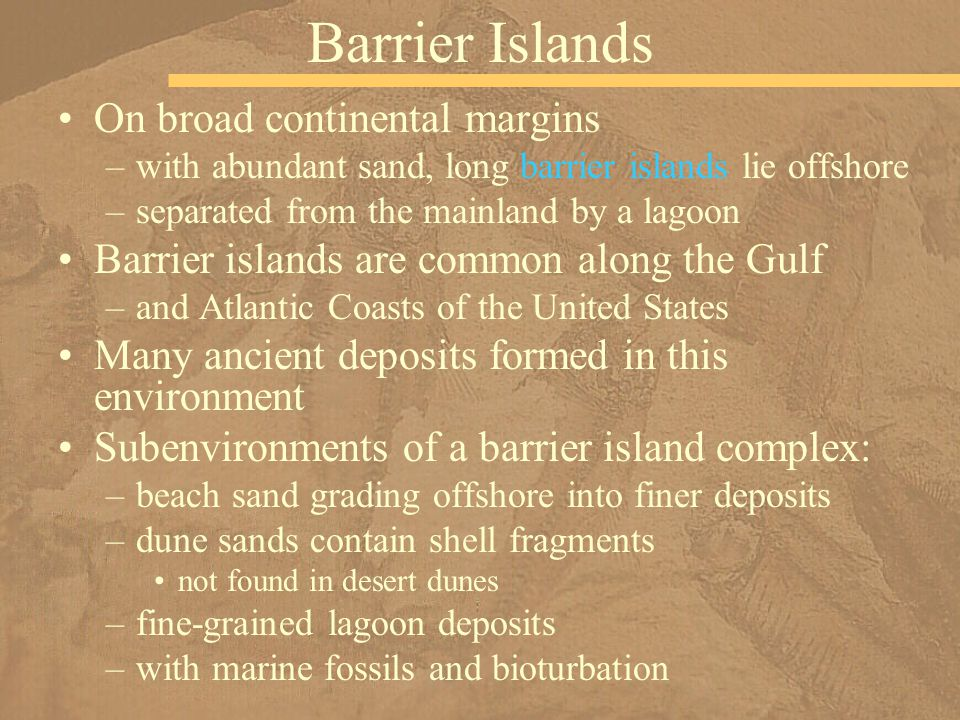 Barrier Islands On broad continental margins