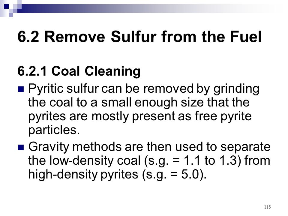 6.2 Remove Sulfur from the Fuel