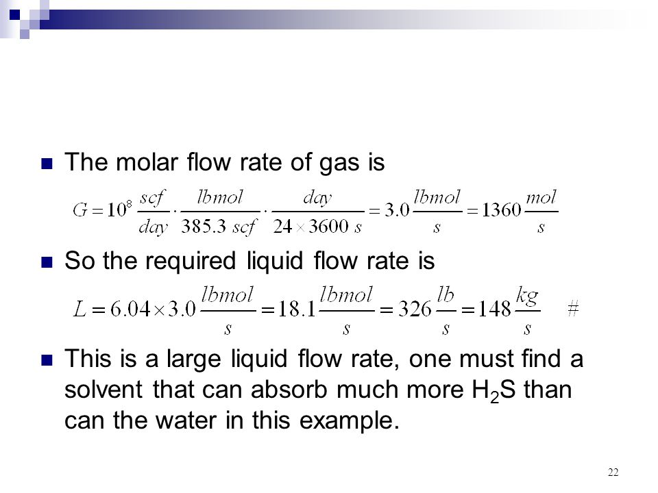 The molar flow rate of gas is