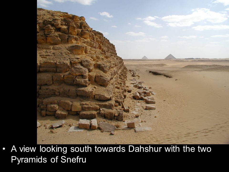 A view looking south towards Dahshur with the two Pyramids of Snefru