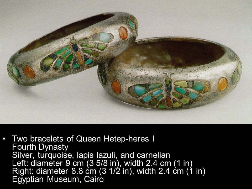 Two bracelets of Queen Hetep-heres I Fourth Dynasty Silver, turquoise, lapis lazuli, and carnelian Left: diameter 9 cm (3 5/8 in), width 2.4 cm (1 in) Right: diameter 8.8 cm (3 1/2 in), width 2.4 cm (1 in) Egyptian Museum, Cairo