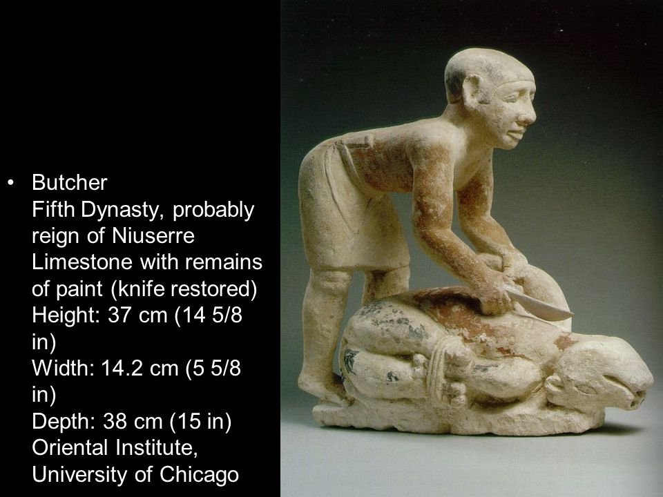 Butcher Fifth Dynasty, probably reign of Niuserre Limestone with remains of paint (knife restored) Height: 37 cm (14 5/8 in) Width: 14.2 cm (5 5/8 in) Depth: 38 cm (15 in) Oriental Institute, University of Chicago