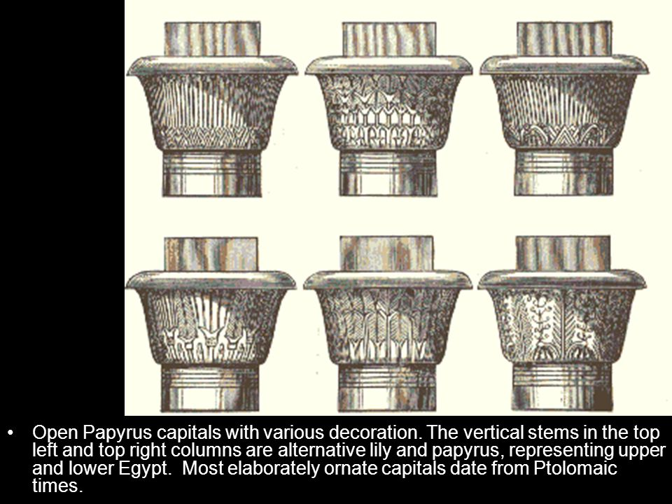 Open Papyrus capitals with various decoration