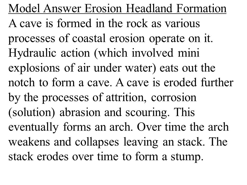 Model Answer Erosion Headland Formation