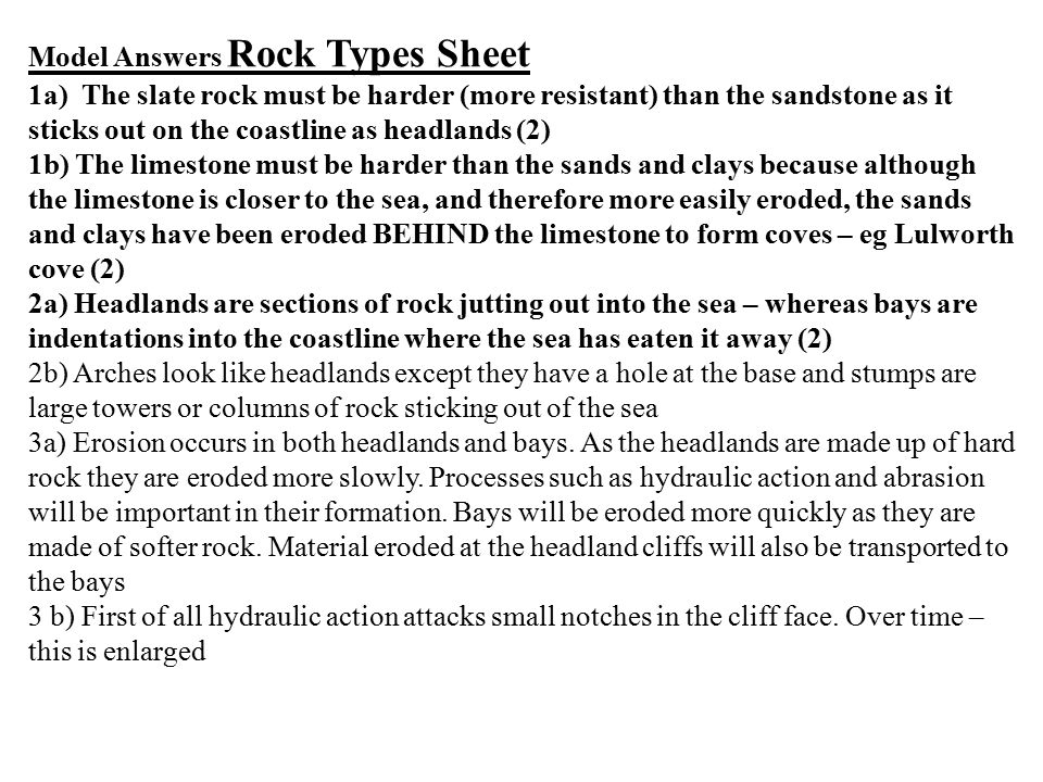 Model Answers Rock Types Sheet