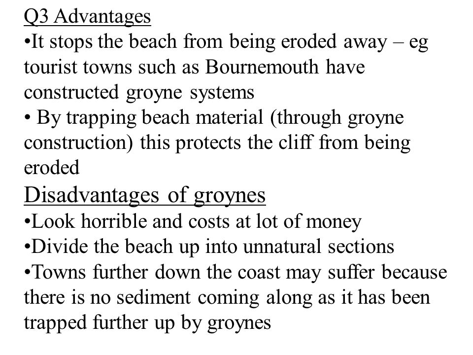 Disadvantages of groynes