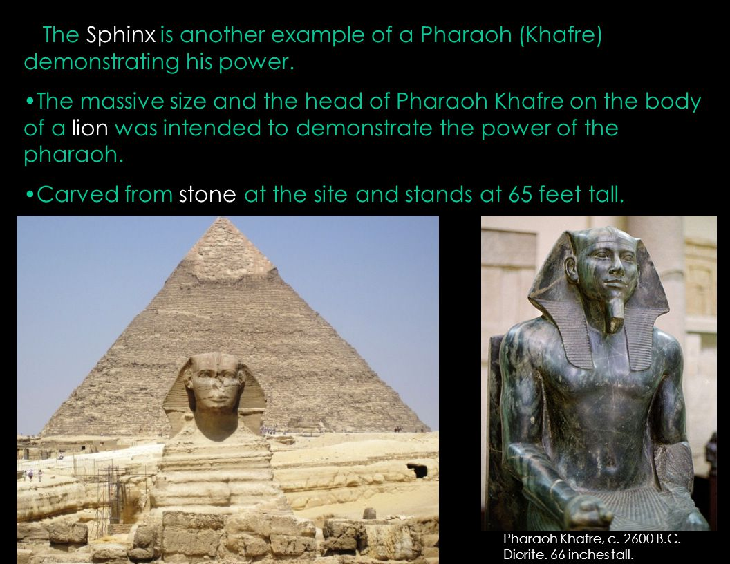 Carved from stone at the site and stands at 65 feet tall.