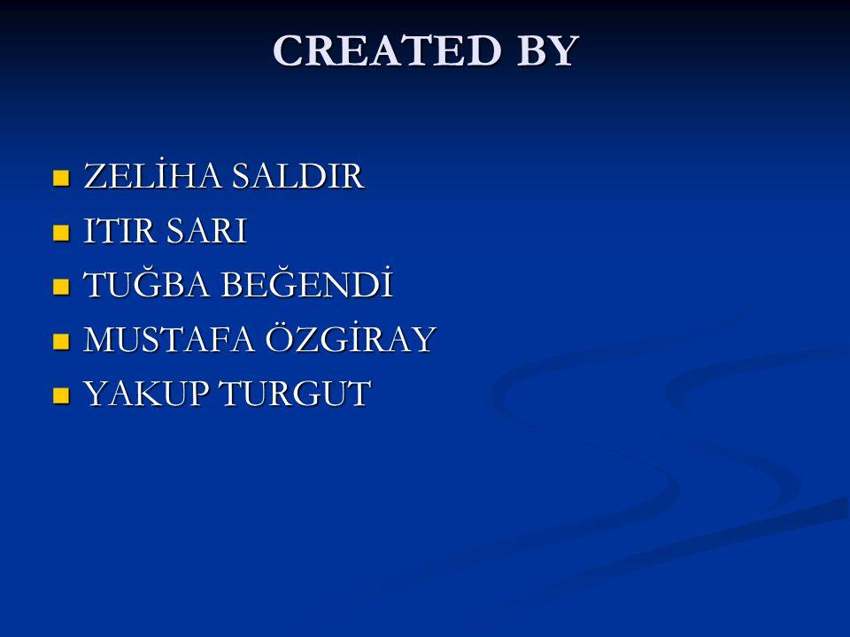 CREATED BY ZELİHA SALDIR ITIR SARI TUĞBA BEĞENDİ MUSTAFA ÖZGİRAY