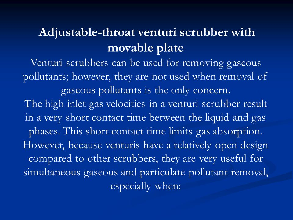 Adjustable-throat venturi scrubber with movable plate