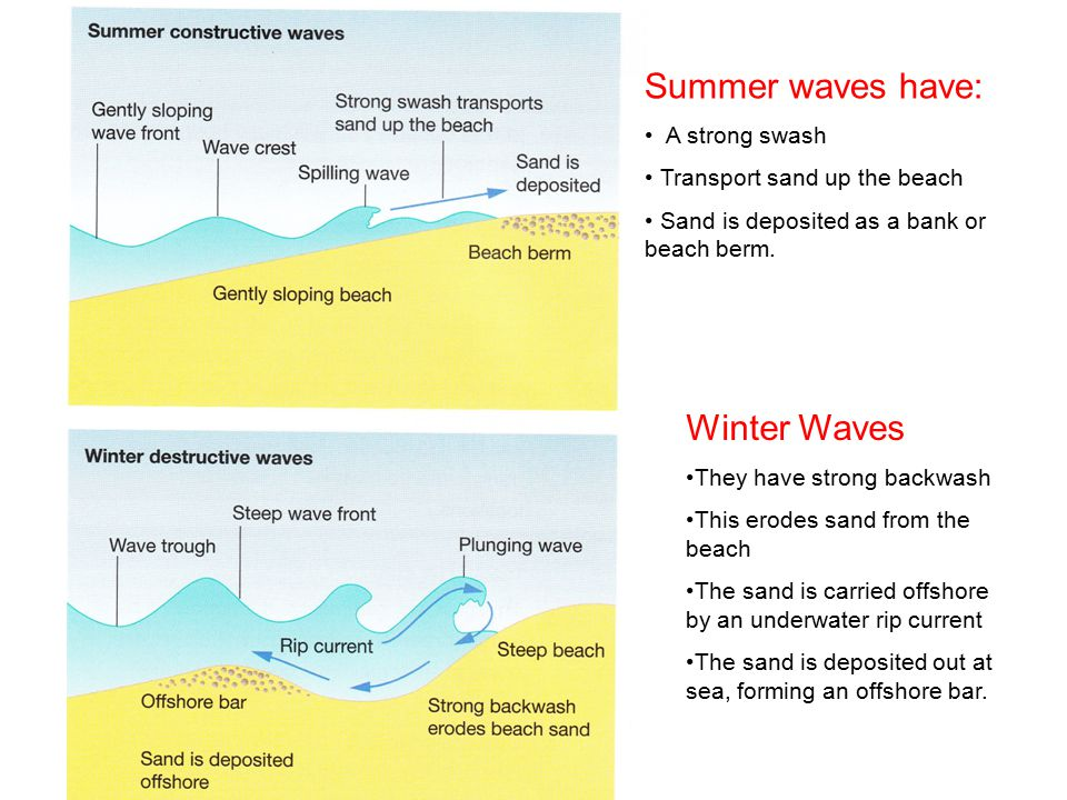 Summer waves have: Winter Waves A strong swash
