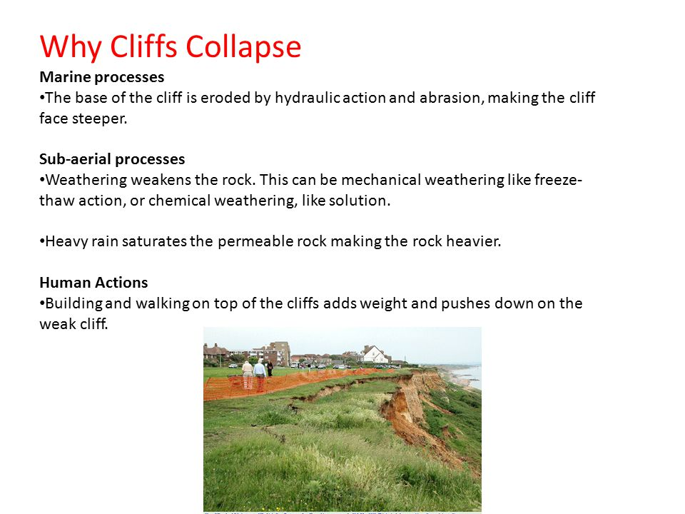 Why Cliffs Collapse Marine processes