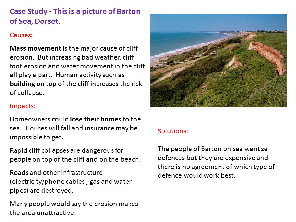 Case Study - This is a picture of Barton of Sea, Dorset.