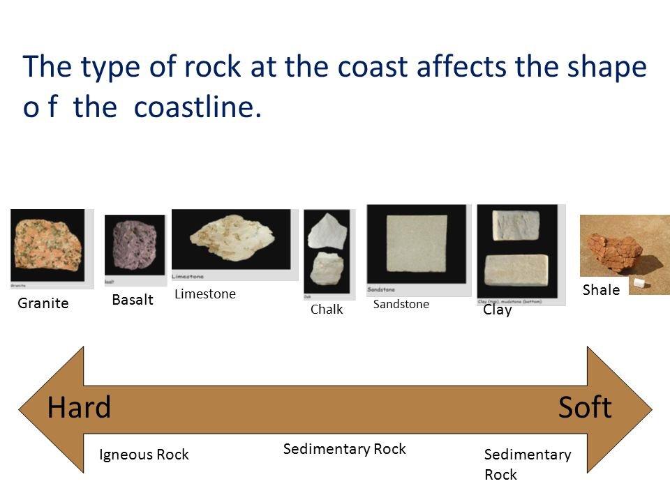 The type of rock at the coast affects the shape o f the coastline.