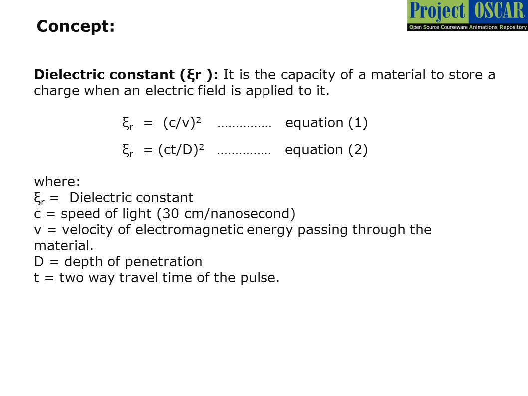 Concept: Dielectric constant (ξr ): It is the capacity of a material to store a charge when an electric field is applied to it.