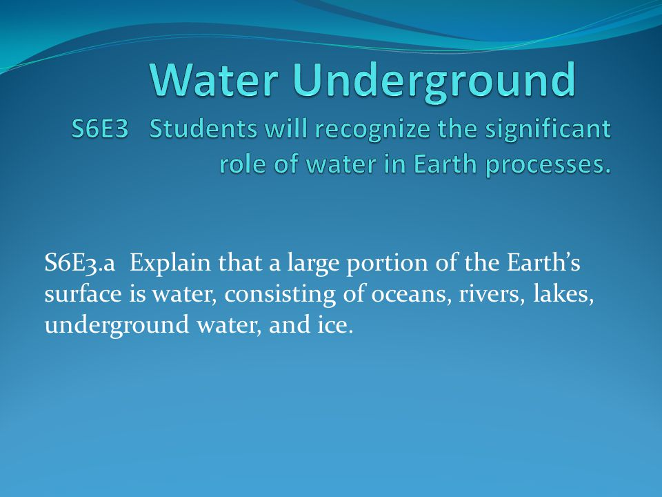Water Underground S6E3 Students will recognize the significant role of water in Earth processes.