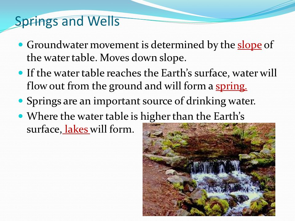 Springs and Wells Groundwater movement is determined by the slope of the water table. Moves down slope.
