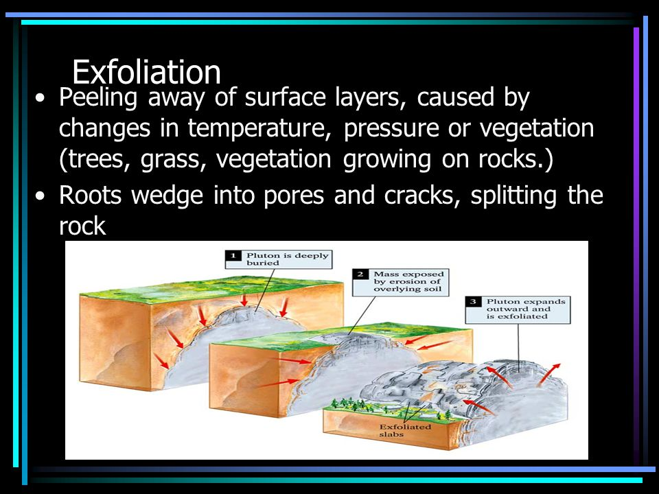 Exfoliation Peeling away of surface layers, caused by changes in temperature, pressure or vegetation (trees, grass, vegetation growing on rocks.)