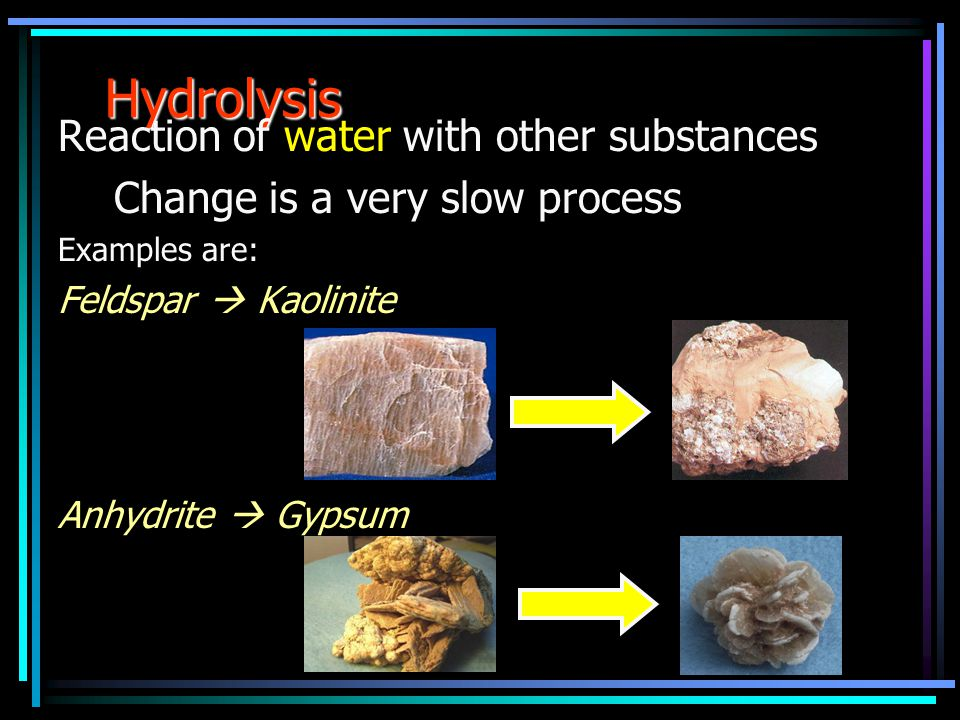 Hydrolysis Reaction of water with other substances