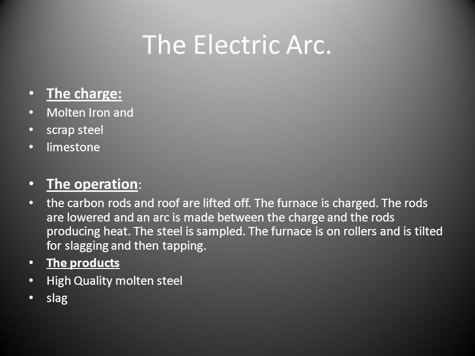 The Electric Arc. The charge: The operation: Molten Iron and