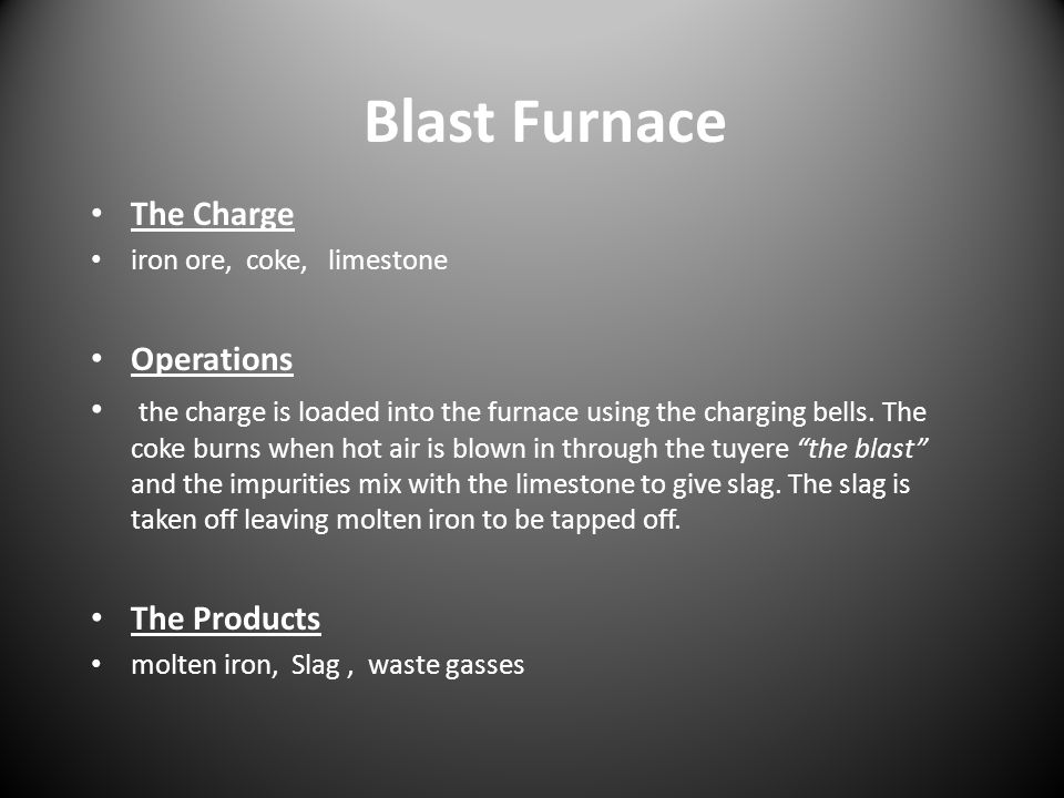 Blast Furnace The Charge Operations