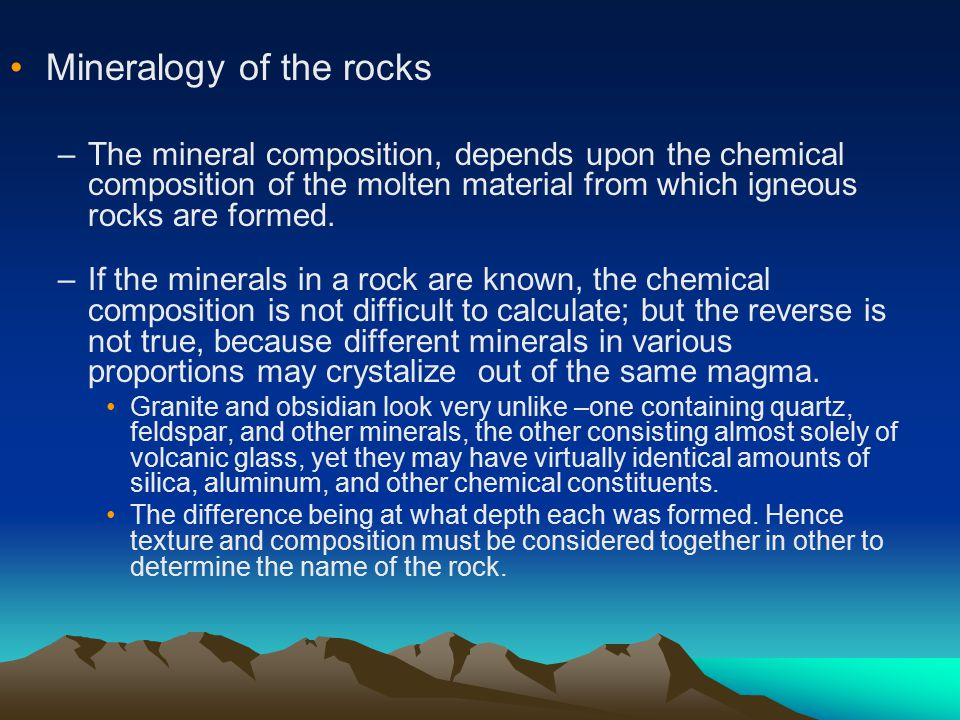 Mineralogy of the rocks