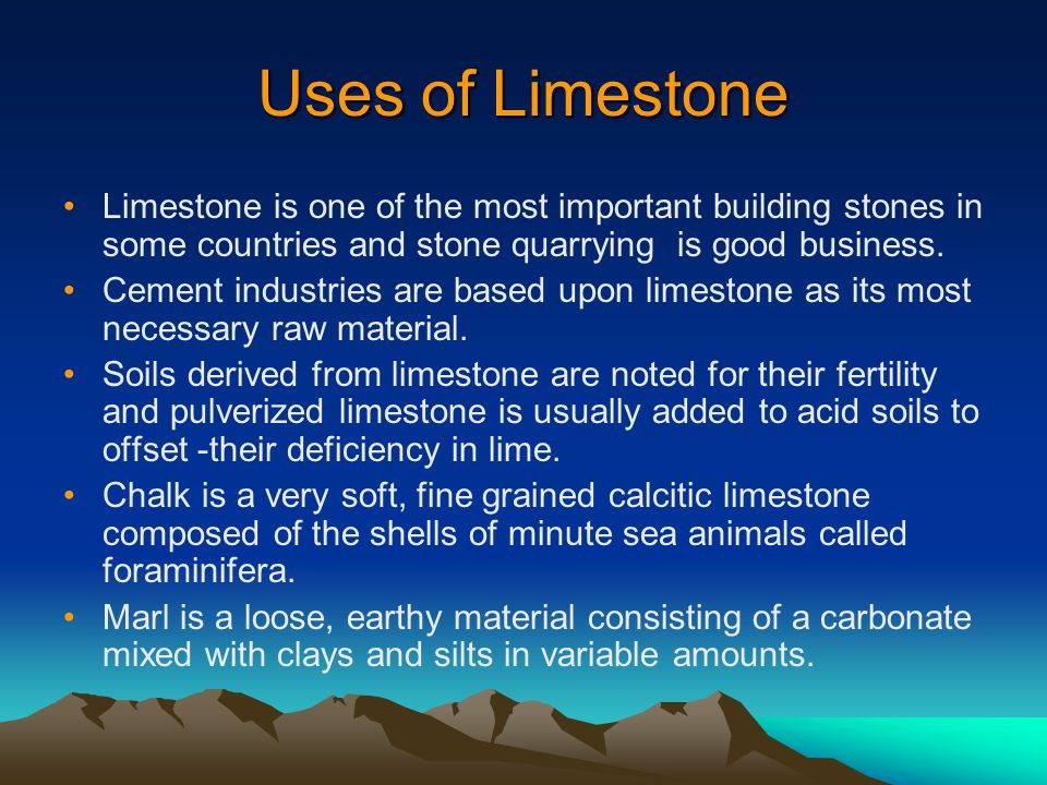 Uses of Limestone Limestone is one of the most important building stones in some countries and stone quarrying is good business.