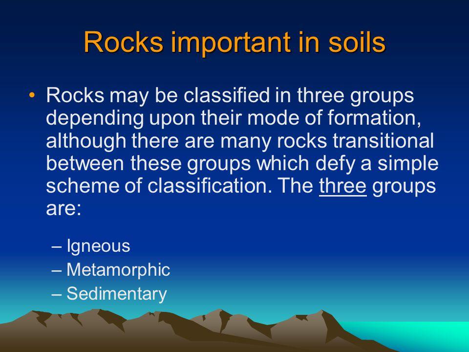 Rocks important in soils